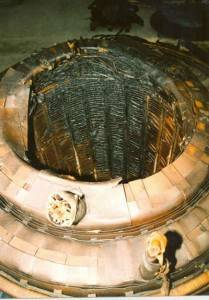 Damage to inside of coil winding stack of oil filled transformer