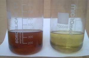 Turbine oil before and after regeneration